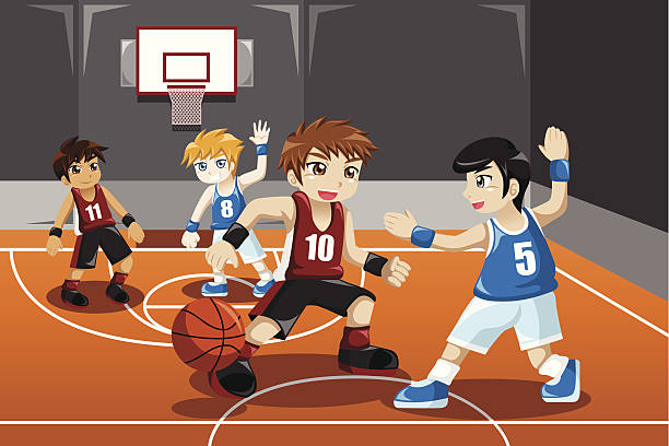Kids Playing Basketball Vector Art Illus-Kids playing basketball vector art illustration-16