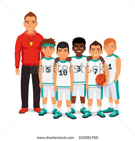 School Boys Basketball Team Standing Wit-School boys basketball team standing with their coach. Flat style vector  illustration isolated on white-18
