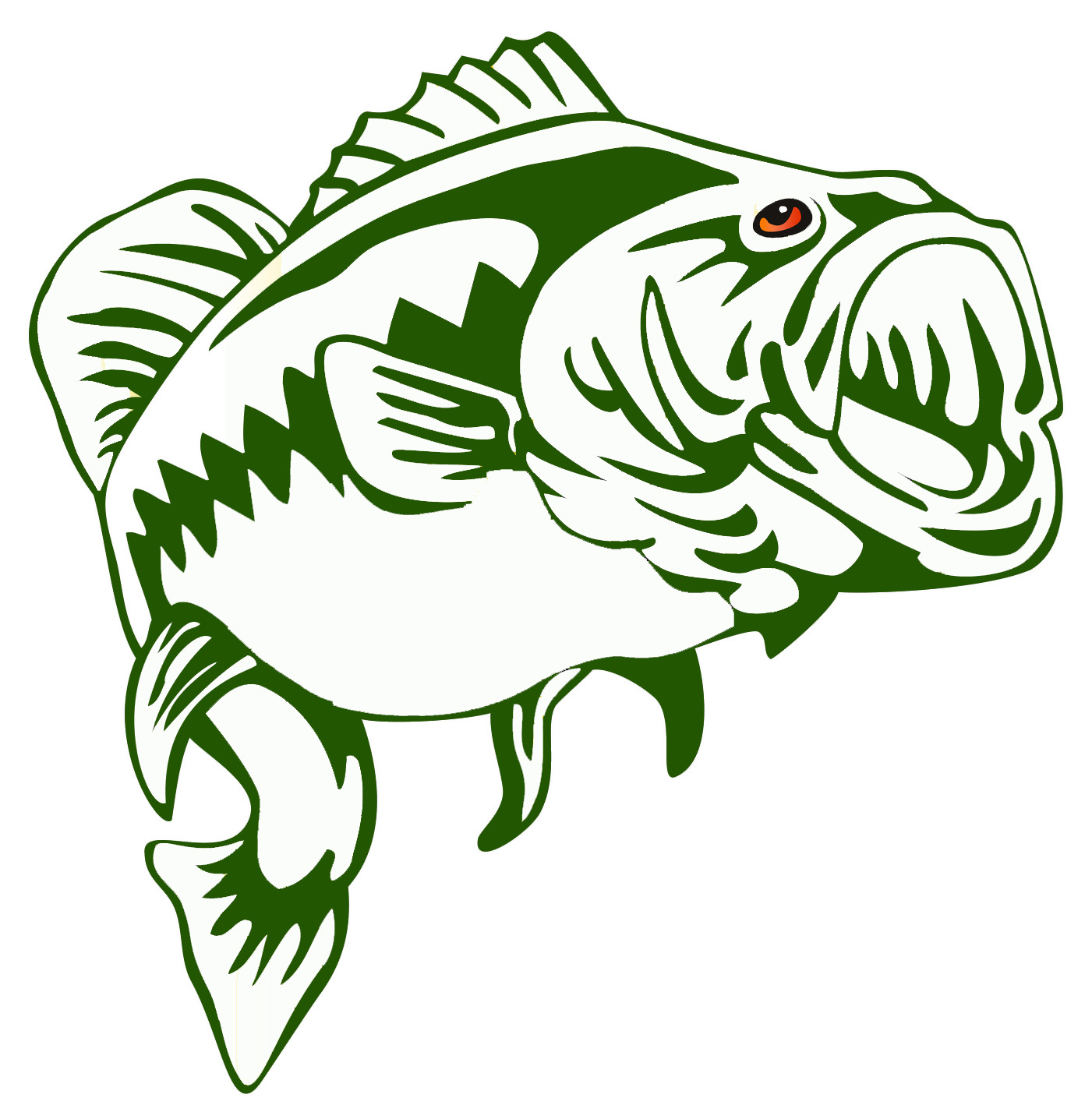 Bass Fish Outline #18241-Bass Fish Outline #18241-3