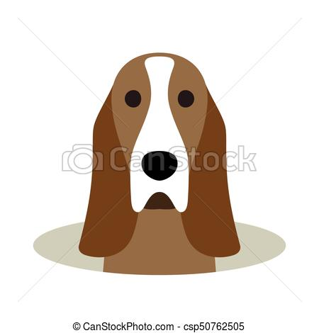 Basset Hound Dog On The Hole,watching, Vector Illustration