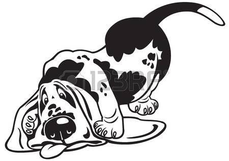 basset hound: dog,basset hound,black and white cartoon picture