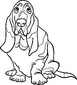 ... basset hound dog cartoon for coloring book