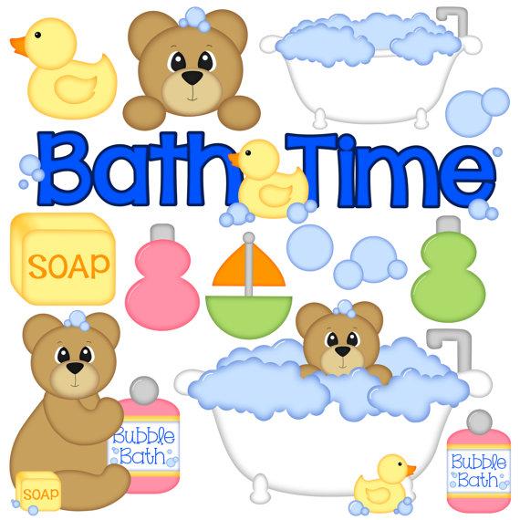 Bath Time Digital Clipart - Set of 14 - Bath Tub, Bear, Bubbles,
