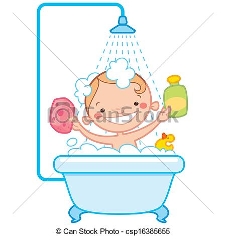 Bathtime Drawingby ThodorisTibilis5/387;-Bathtime Drawingby ThodorisTibilis5/387; Happy cartoon baby kid in bath tub - Happy cartoon baby kid.-10