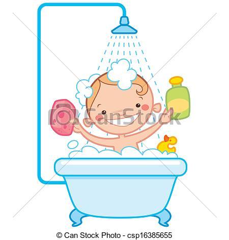 Bathtime Drawingby ThodorisTibilis5/387; Happy cartoon baby kid in bath tub - Happy cartoon baby kid.