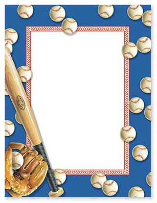Batter Up Stationery Letterhe - Baseball Border Clipart