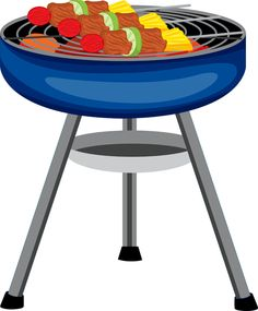 Bbq Grill With Fire Clipart