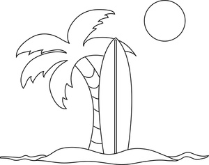 Beach black and white coloring pages clipart image surfboard and palm tees on a