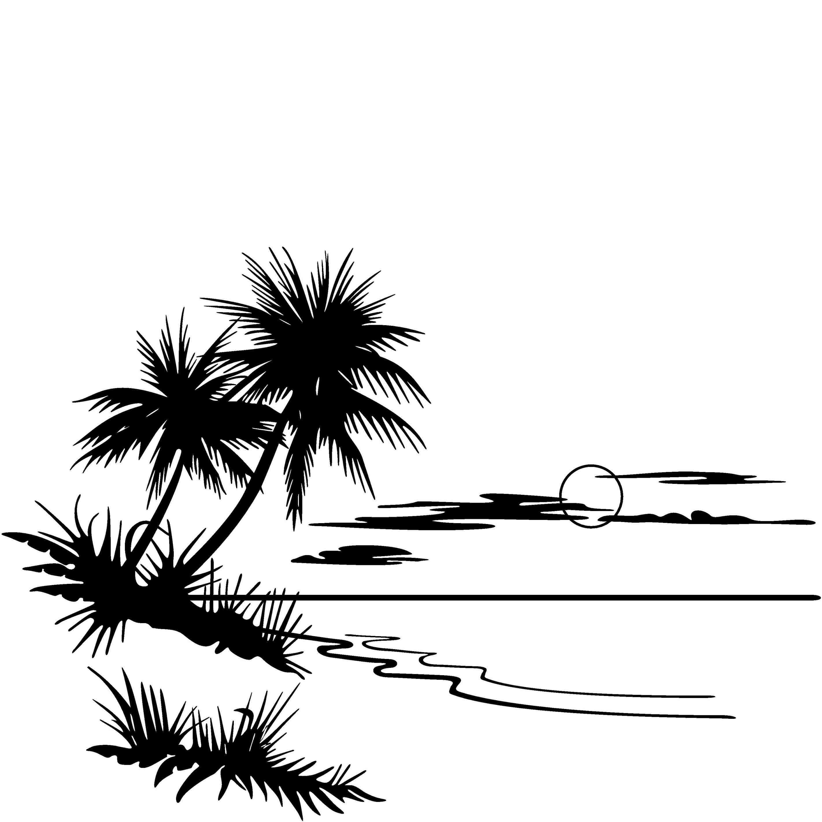 Beach black and white two palm trees clip art black and white