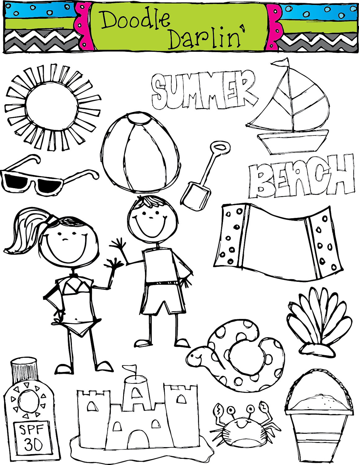 29+ Summer Clipart Black And White | ClipartLook
