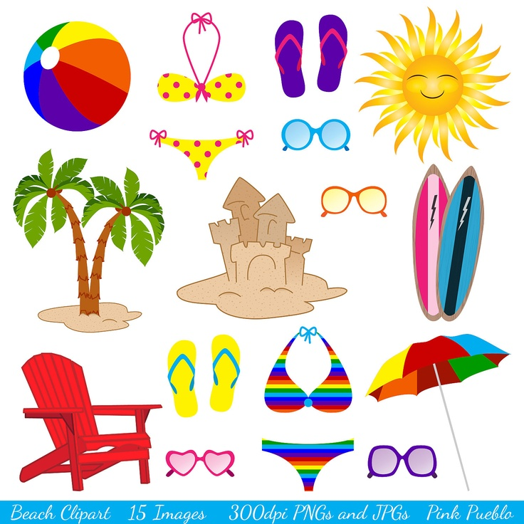 Beach Clipart Clip Art, Ocean Summer Vacation Clipart Clip Art - Commercial and Personal Use