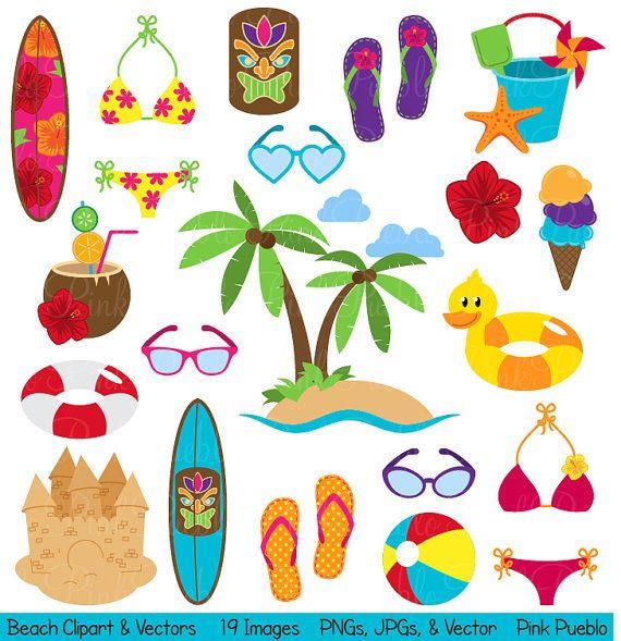 Beach Clipart Clip Art, Summer Vacation Travel Clipart Clip Art Vectors - Commercial and Personal