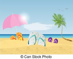 ... Beach Scene Illustration - Illustration of a colorful beach.