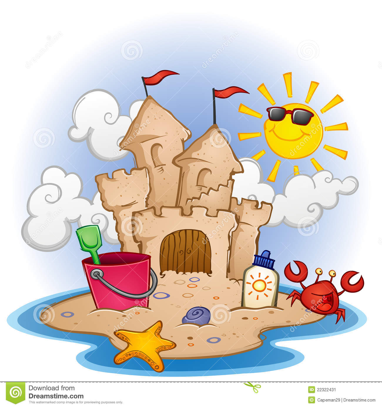 Beach Scene With A Sandcastle - Sandcastle Clipart