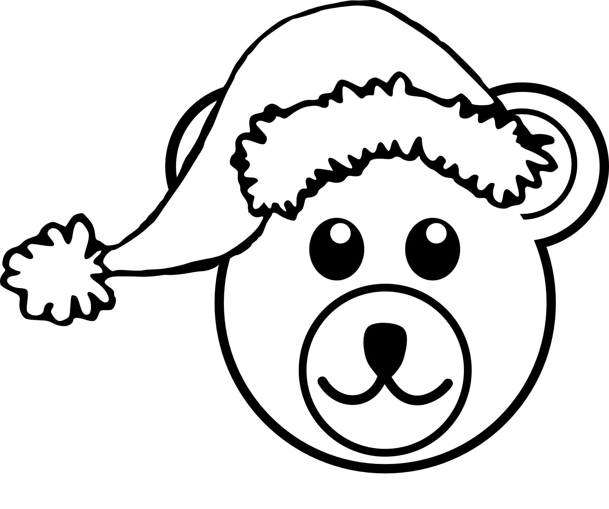 Bear 3 Head Brown With Santa Hat Black White Line Art Teddy Bear Xmas