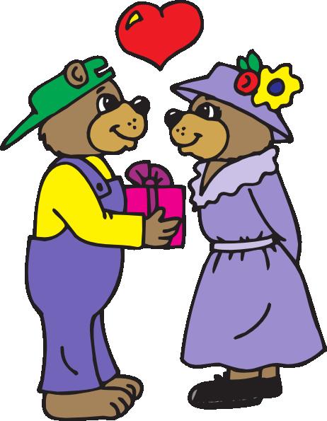 Bear Giving A Gift Clip Art