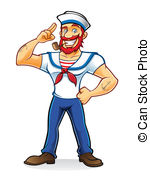 Beard Sailor - bearded sailor with a pipe in his mouth stand.