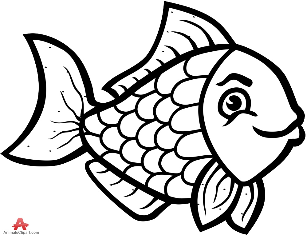 Beautiful Fish Clipart Outline .