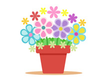 Beautiful Girl Holding Colourful Flower Pot Clipart Size: 60 Kb