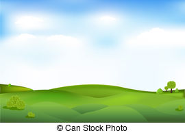 ... Beautiful Landscape With Trees And Clouds In Sky, Vector.