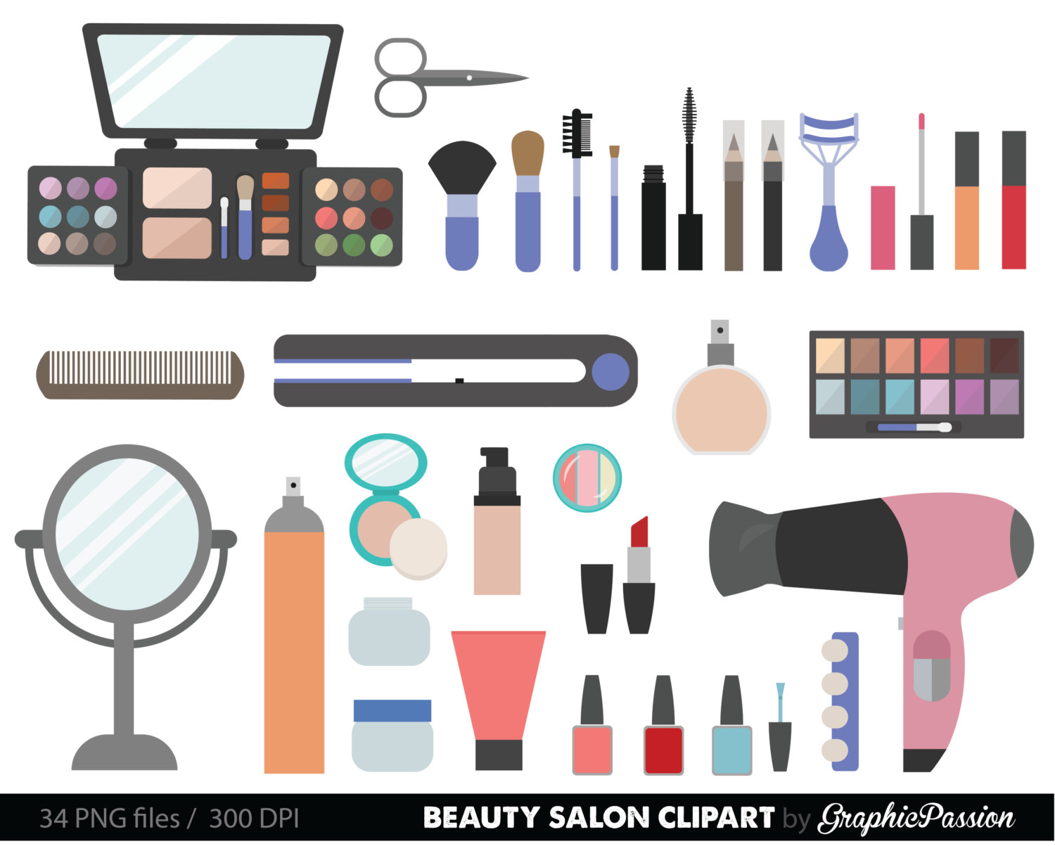 Beauty Collection Digital Clipart Cosmetic Clipart Girly clipart Make up clipart Make up clip art INSTANT DOWNLOAD