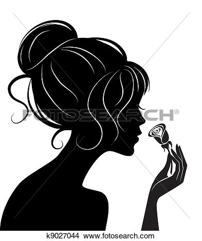 beauty girl silhouette with rose-beauty girl silhouette with rose-11