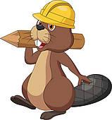 Beaver Rodeo; Cute cartoon beaver wearing safety