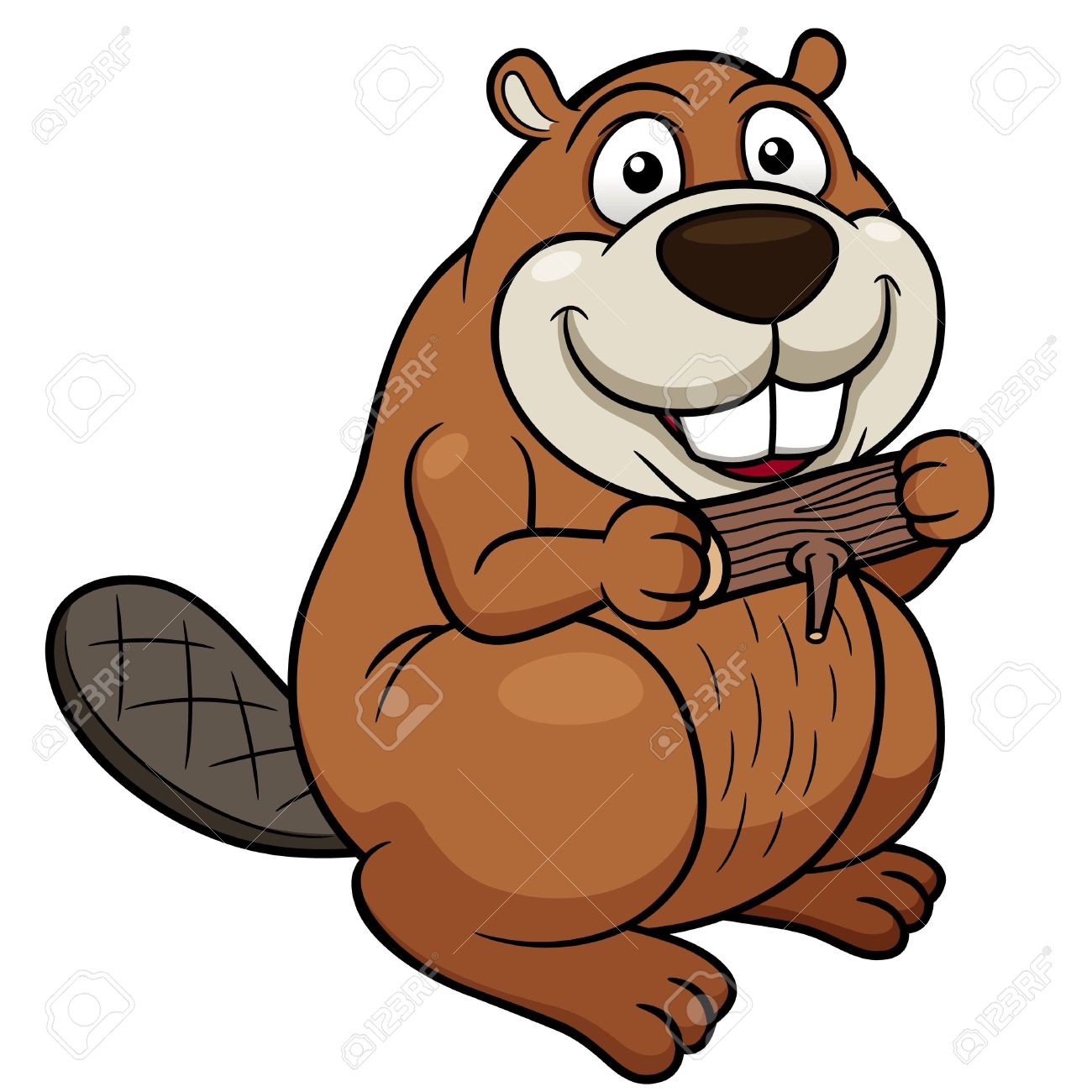Vector illustration of Cartoon beaver with a wood