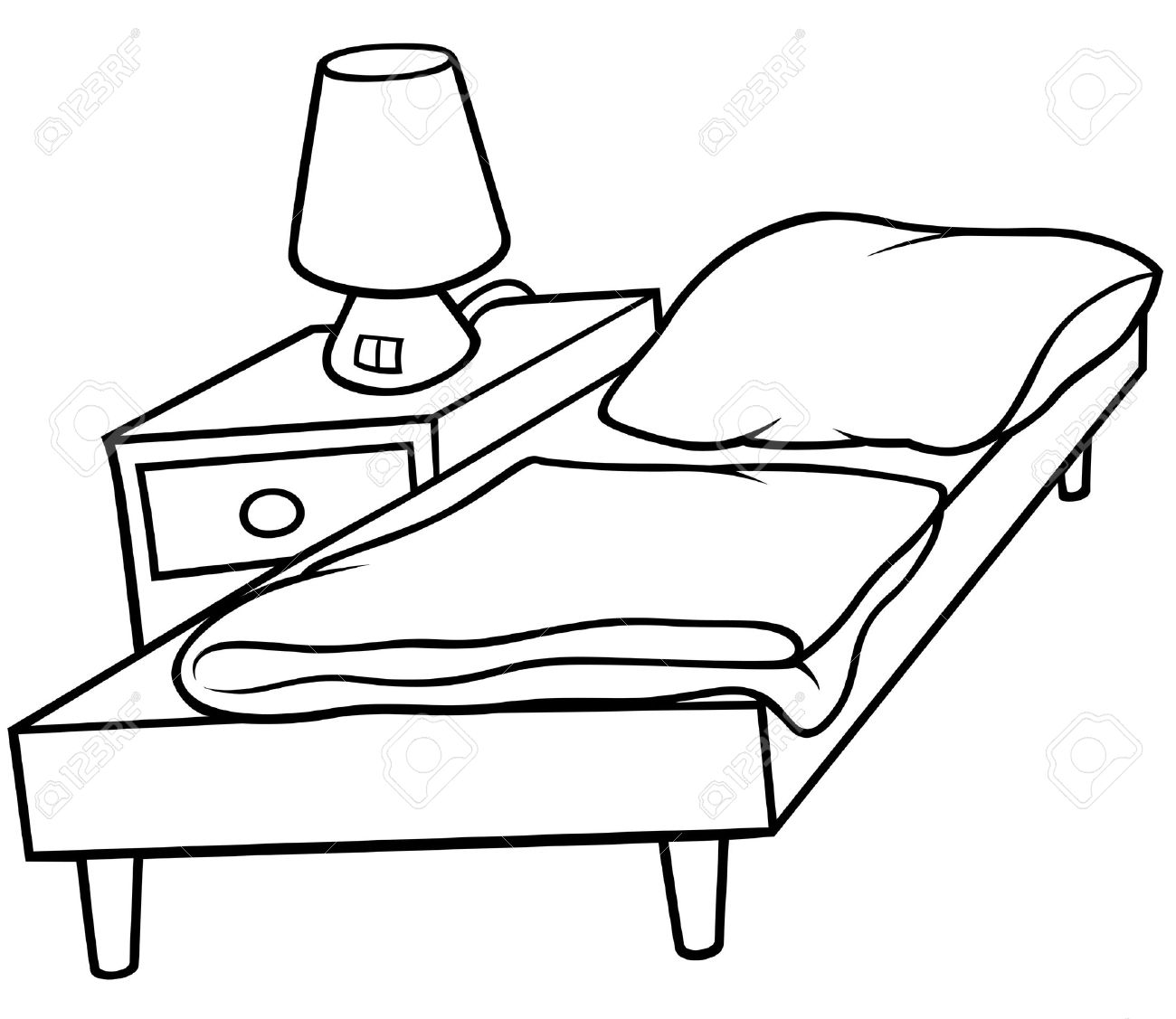 Bed And Bedside - Black And White Cartoo-Bed and Bedside - Black and White Cartoon illustration, Vector Stock Vector - 8756116-3