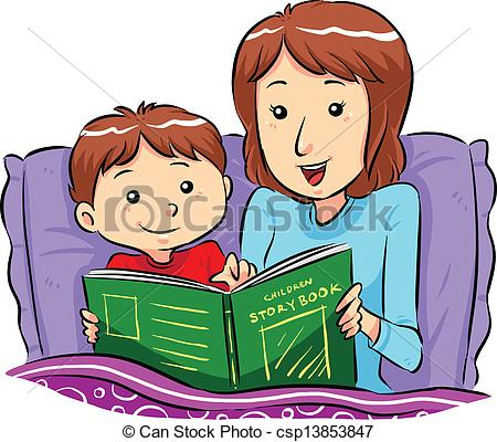 ... Bed Time Story - Mother reading bed time story for her son.