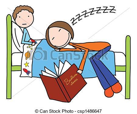 ... Bedtime stories - Illustration of mo-... Bedtime stories - Illustration of mother felt asleep while.-13