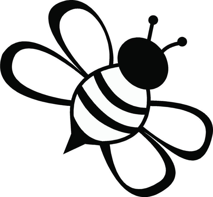 Bee black and white line drawing simple bee clipart free to use clip art resource