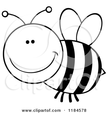 Bee Clipart Black And White 1184578 Cartoon Of A Black And White Happy