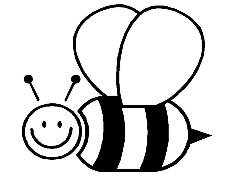 Bee Clipart Black and White u0026middot; Bumble Bee Coloring Page