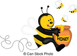 ... Bee holding a pot of honey - Scalable vectorial image.