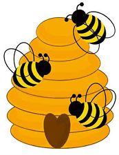 BEES AND HIVE CLIP ART
