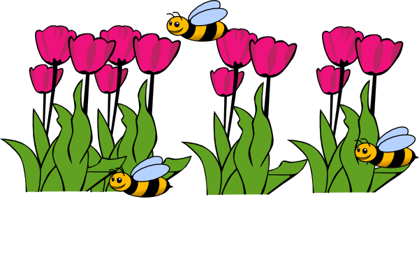 Bees On Tulips clip art .