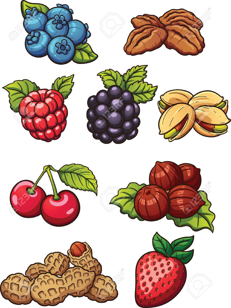 Cartoon nuts and berries. Vector clip art illustration with simple  gradients. Each on a