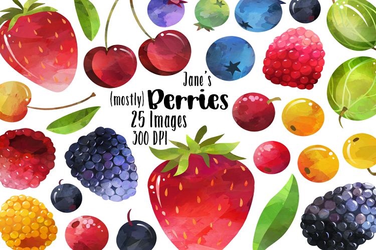 Viewing Product. Watercolor Berries Clipart