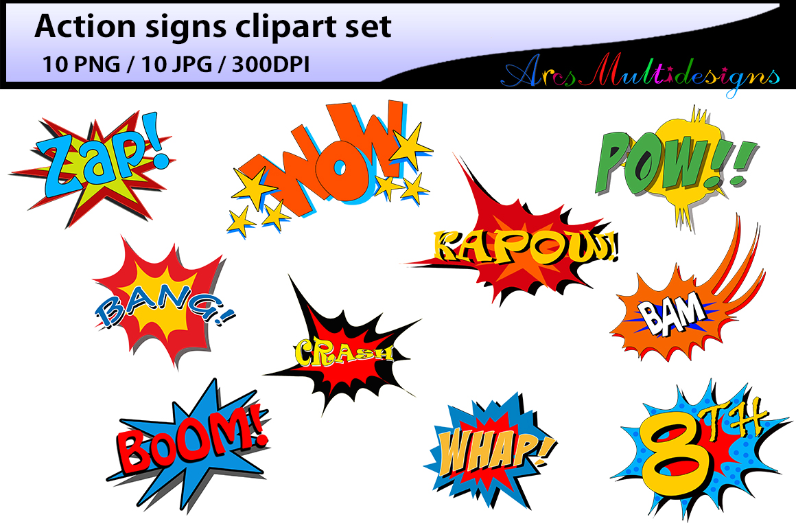 Action Signs / High Quality Clipart / Ac-action signs / High Quality clipart / action sign silhouette / zap clipart  / bang clipart-0