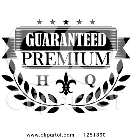 Clipart Of A High Quality Black And Whit-Clipart of a High Quality Black and White Premium Guarantee Label - Royalty  Free Vector Illustration by Vector Tradition SM-10