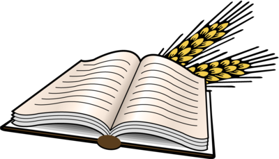 Bible and Wheat Clipart
