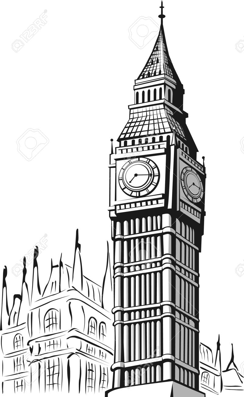 big ben: Sketch of Big Ben .