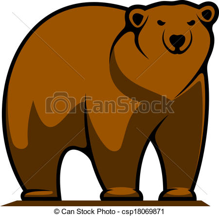 ... Big brown grizzly or brown bear - Cartoon illustration of a.