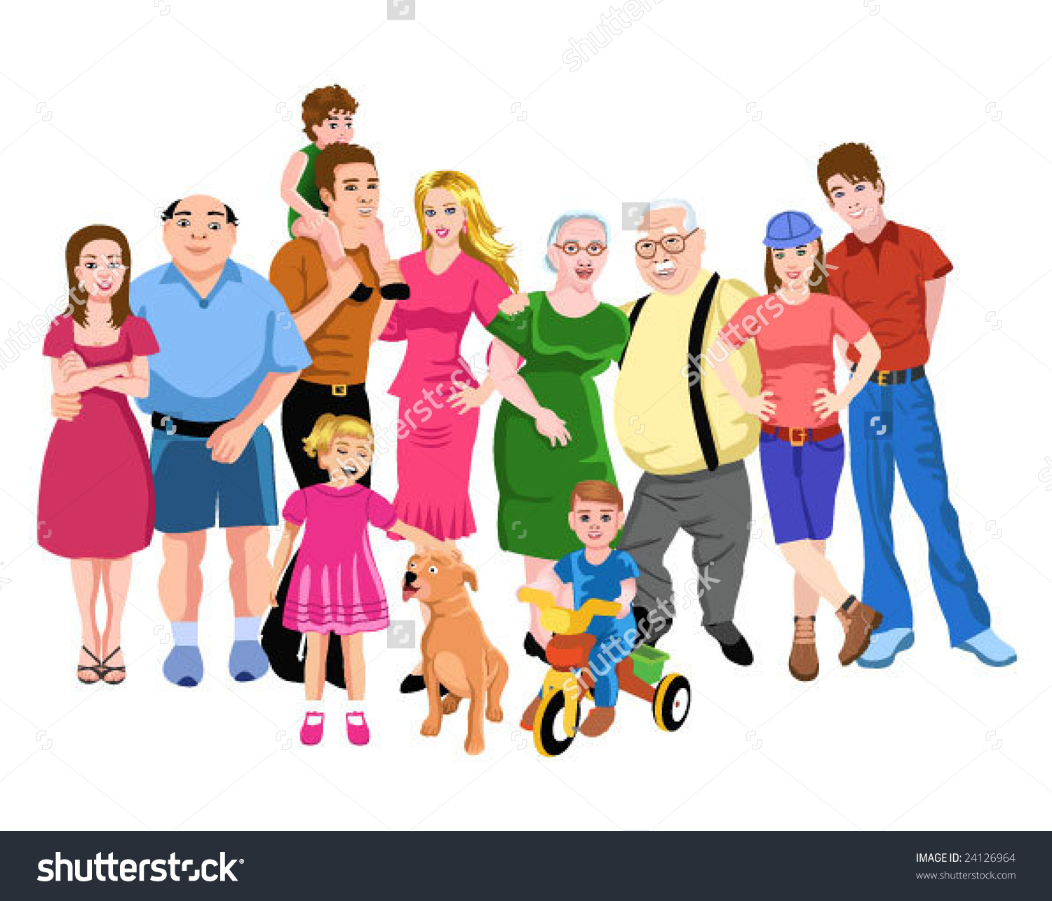 Big Family Stock Vector .