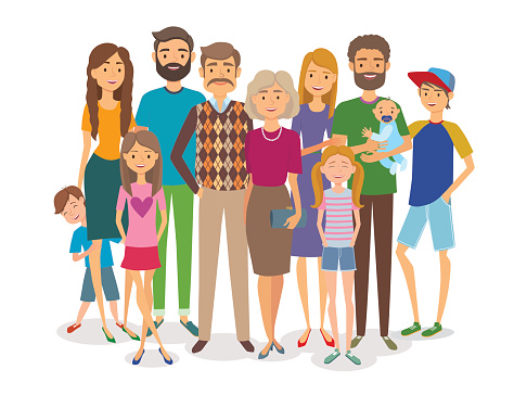 Big happy family. Follow us. - Big Family Clipart