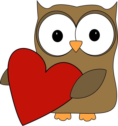 Big Valentine Heart Clip Art - Owl with a