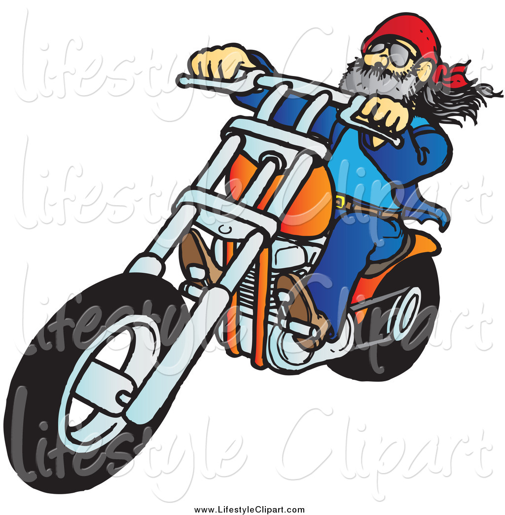 Biker Dude Riding His Orange Chopper Lifestyle Clip Art Snowy
