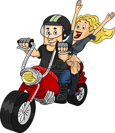 biker: Illustration of a Man Riding a Customized Motorcycle with a Female Passenger at the