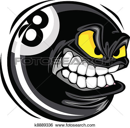 Billiards Eight Ball Angry Face